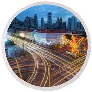 Traffic Light Trails In Singapore Chinatown Round Beach Towel