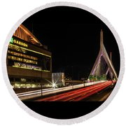 Traffic Racing Over Zakim Bridge Round Beach Towel