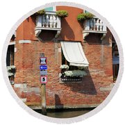 Traffic Signs On The Canal In Venice Italy Round Beach Towel