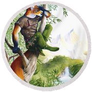 Trail Blazing Fox Round Beach Towel