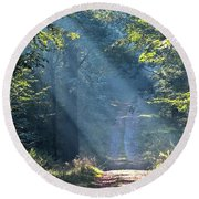 Trail In Morning Light Round Beach Towel