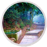 Trail In Woods Round Beach Towel