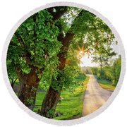 Trail Into Sunset Round Beach Towel