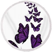 Trail Of The Purple Butterflies Transparent Background Round Beach Towel