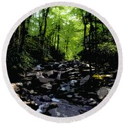 Trail To Chimney Top Round Beach Towel