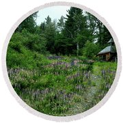Trail To The Cabin Round Beach Towel
