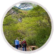 Trail To Waterfall In Vicente Perez Rosales National Park Near Puerto Montt-chile Round Beach Towel