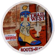 Trail West Mural Round Beach Towel