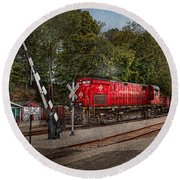 Train - Diesel - Look Out For The Locomotive  Round Beach Towel