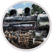 Train - Engine - 385 - Baldwin 2-8-0 Consolidation Locomotive Round Beach Towel