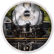 Train - Engine - 4039 American Locomotive Company  Round Beach Towel