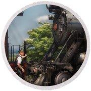 Train - Engine - Alllll Aboard Round Beach Towel