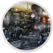 Train - Engine - Steam Locomotives Round Beach Towel