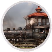 Train - Engine -the Great Western 90 Round Beach Towel by Mike Savad