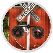 Train - Yard - Railroad Crossing Round Beach Towel