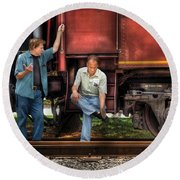 Train - Yard - Shoot'in The Breeze Round Beach Towel