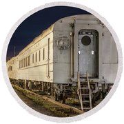 Train Car And Tracks Round Beach Towel