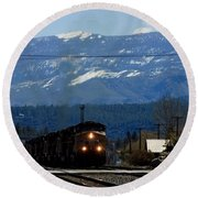 Train Entering Truckee California Round Beach Towel