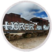 Train Graveyard Uyuni Bolivia 13 Round Beach Towel