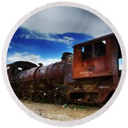 Train Graveyard Uyuni Bolivia 15 Round Beach Towel