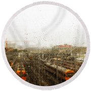 Train In The Rain Round Beach Towel