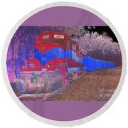 Train On Railroad Tracks - Abstract In Blue And Red Round Beach Towel