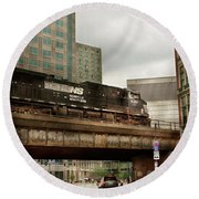 Train - Pittsburg Pa - The Industrial City Round Beach Towel