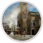 Train Station - Look Out For The Train 1910 Round Beach Towel