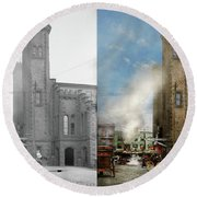 Train Station - Look Out For The Train 1910 - Side By Side Round Beach Towel
