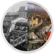 Train Station - Wuppertal Suspension Railway 1913 - Side By Side Round Beach Towel