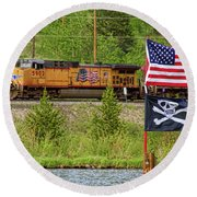 Train The Flags Round Beach Towel