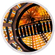 Train Track Abstract Round Beach Towel