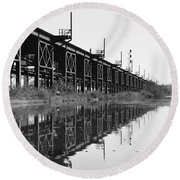 Train Track Reflections Round Beach Towel