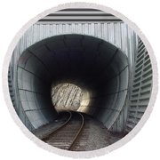 Train Track Round Beach Towel