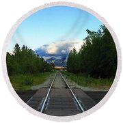Train Tracks Anchorage Alaska Round Beach Towel