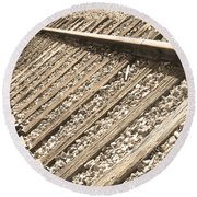 Train Tracks Sepia Triangular  Round Beach Towel