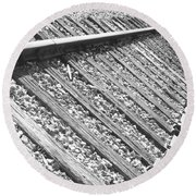 Train Tracks Triangular In Black And White Round Beach Towel