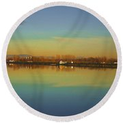 Train Trestle On Lake Champlain Round Beach Towel