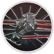 Train Wheels 3 Round Beach Towel