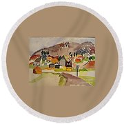 Train Whistle Stop Village  Round Beach Towel