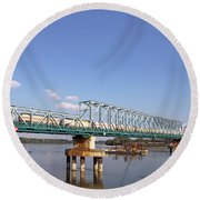 Train With Tank Wagon On Bridge Round Beach Towel