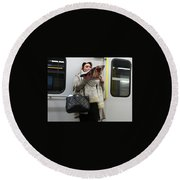 Train Woman Magazine Round Beach Towel