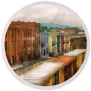 Train - Yard - Train Town Round Beach Towel