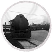 Trains 3 Blkwht Round Beach Towel