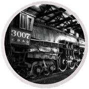 Trains 3007 C B Q Steam Engine Bw Round Beach Towel