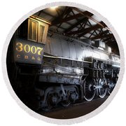 Trains 3007 C B Q Steam Engine Round Beach Towel