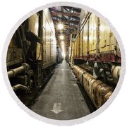 Trains Ancient Iron In The Barn Round Beach Towel