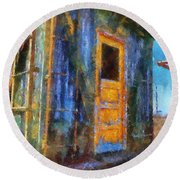 Trains Box Car Yellow Door Pa 02 Round Beach Towel