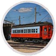 Trains Chicago Aurora Elgin Trolley Car 409 Round Beach Towel