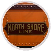 Trains North Shore Line Chicago Signage Round Beach Towel